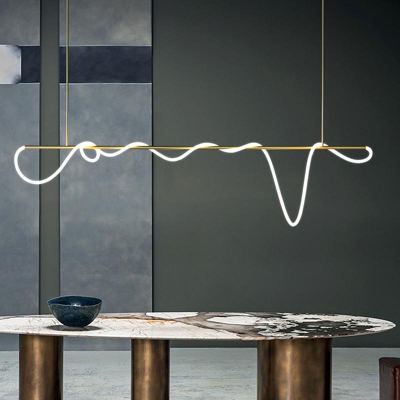 LED ما بعد الحداثة الذهبي الأبيض مصمم أضواء الثريا lamvillage دي تيكو تعليق الإنارة Lampen لغرفة الطعام