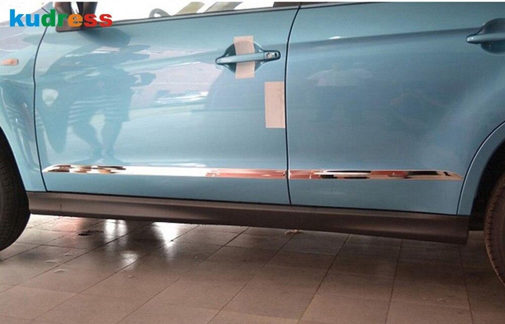 Para Mitsubishi ASX 2013-2016 Acero inoxidable lateral exterior puerta, moldura de carrocería embellecedores de puerta Decoración Accesorios de coche 4 Uds