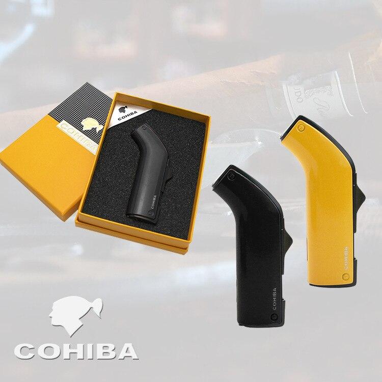 COHIBA potente mechero de Triple antorcha a prueba de viento BBQ Jet Gas encendedor de cigarros Turbo Metal cocina cigarro Spray Gun dispositivos para exteriores hombre
