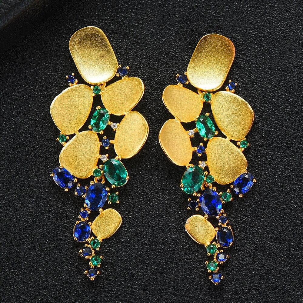GODKI Big AAA Cubic Zirconia Earrings For Women Lover Geometric Gold Round Heart Drop Dangle Earring Korean Statement Jewelry