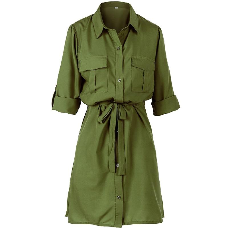 Women Mini Shirt Dress 2019 Spring Autumn Ladies Party Dress Green White Button High Waist Female Dresses Plus Size Vestidos 3XL