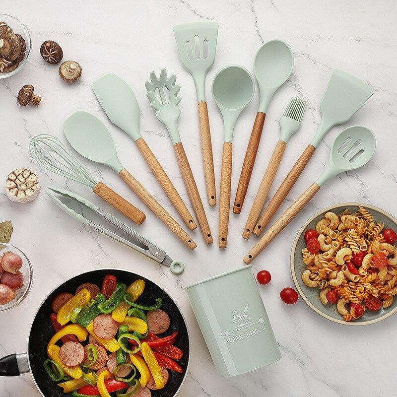 سيليكون أواني الطبخ مجموعة غير عصا ملعقة مجرفة مقبض خشبي أدوات المطبخ مع صندوق تخزين 11 قطعة اكسسوارات المطبخ