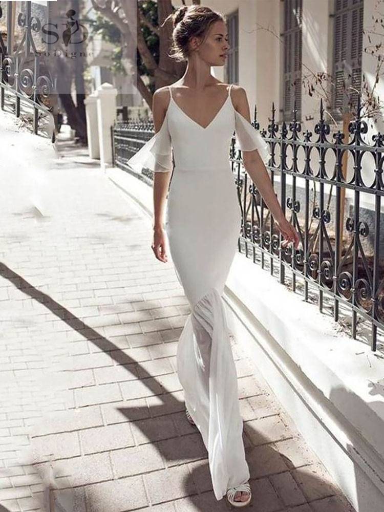 Spaghetti Straps Wedding Dress Chiffon Mermaid Formal Boho Bridal Dresses Backless Newest Coming V-neck Gowns Simple