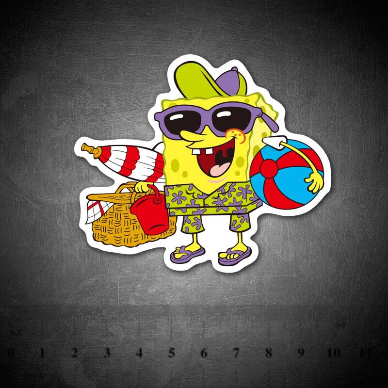 Bob Esponja divertido de dibujos animados, pegatinas para Skateboard, maletas, equipaje, portátil, juguete clásico de chico