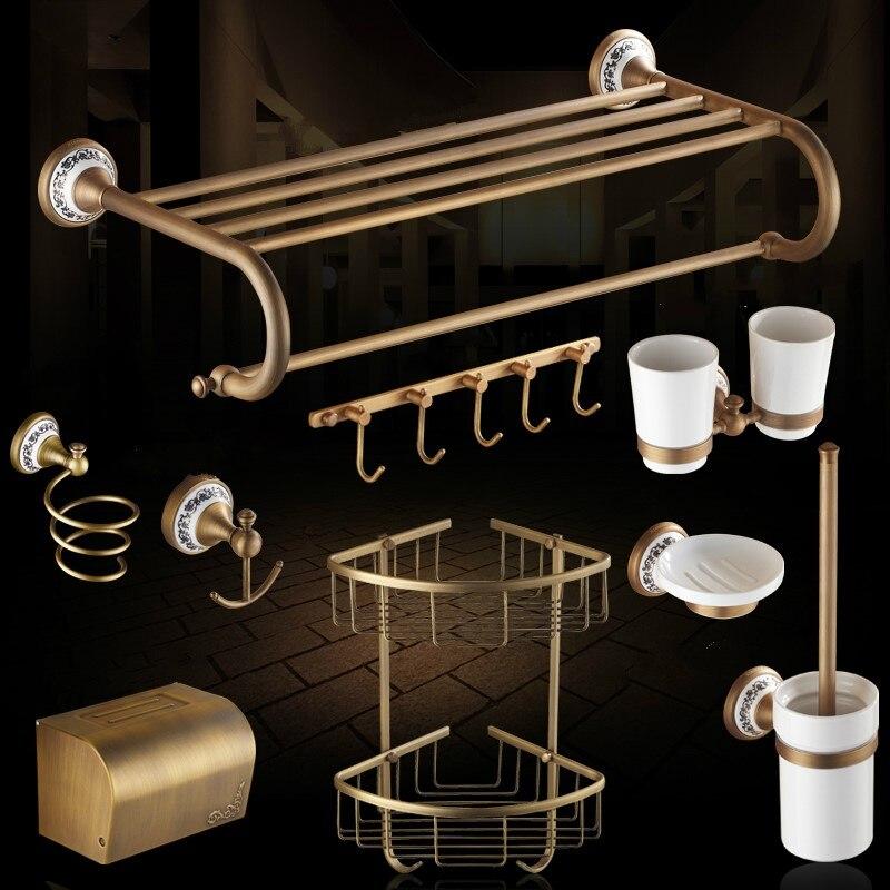العتيقة السيراميك منحوتة قاعدة طقم إكسسوارات حمام نحى الحمام المنتج النحاس البرونزية حمام الأجهزة مجموعات WV3
