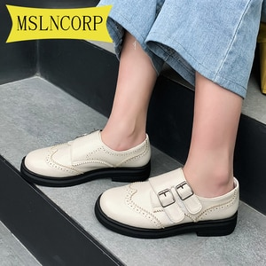 Plus Size 34-46 Women Oxford Flat Spring Shoes for Woman Genuine Leather Flats Summer Brogues Vintage Laces Loafers Woman 2020