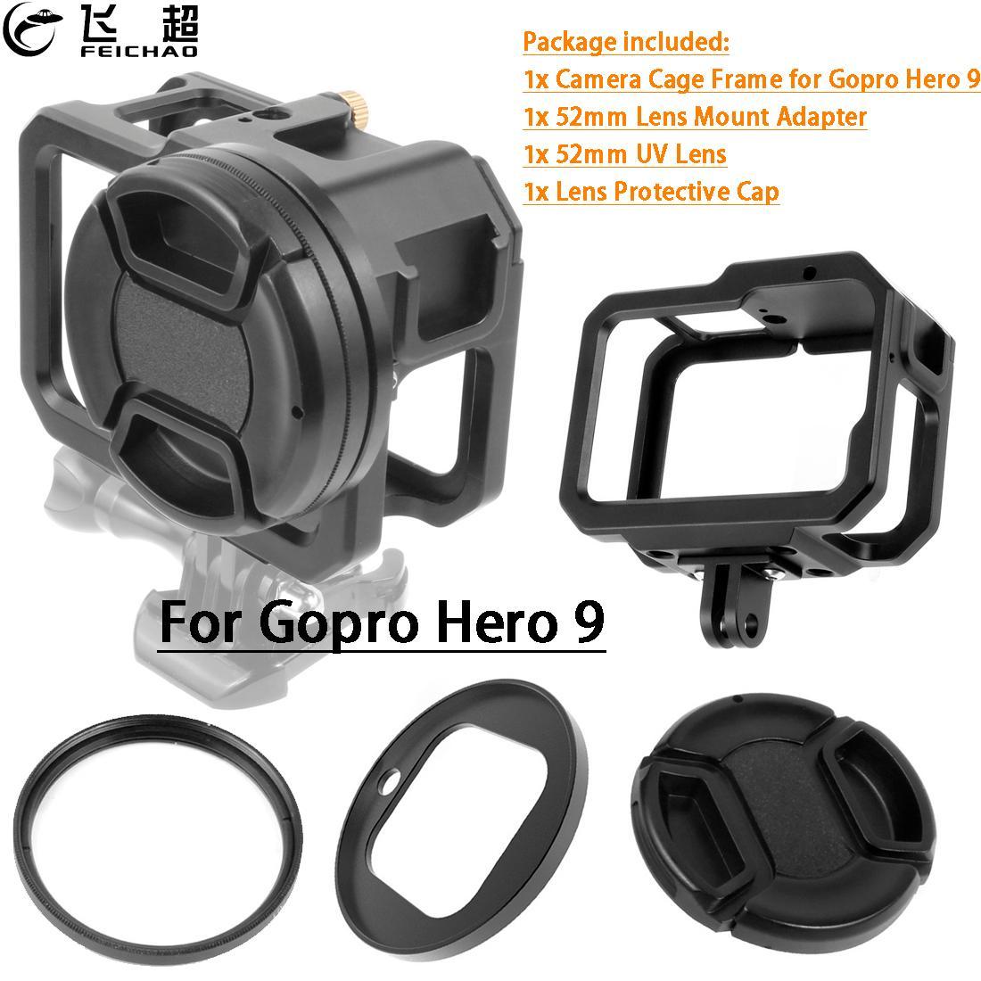 ل Gopro 9 المعادن واقية الإطار قفص تلاعب ل GoPro بطل 9 الأسود عمل كاميرا اكسسوارات واط 52 مللي متر UV عدسة تصفية جبل محول