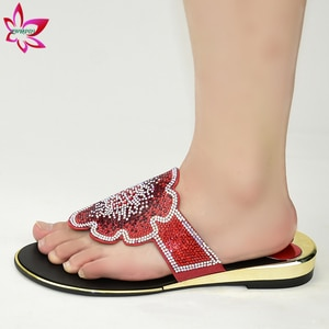 Red New Design Summer Afrian Women Shoes Nigerian Ladies Slipper Comfortable Heels Shoes for Party