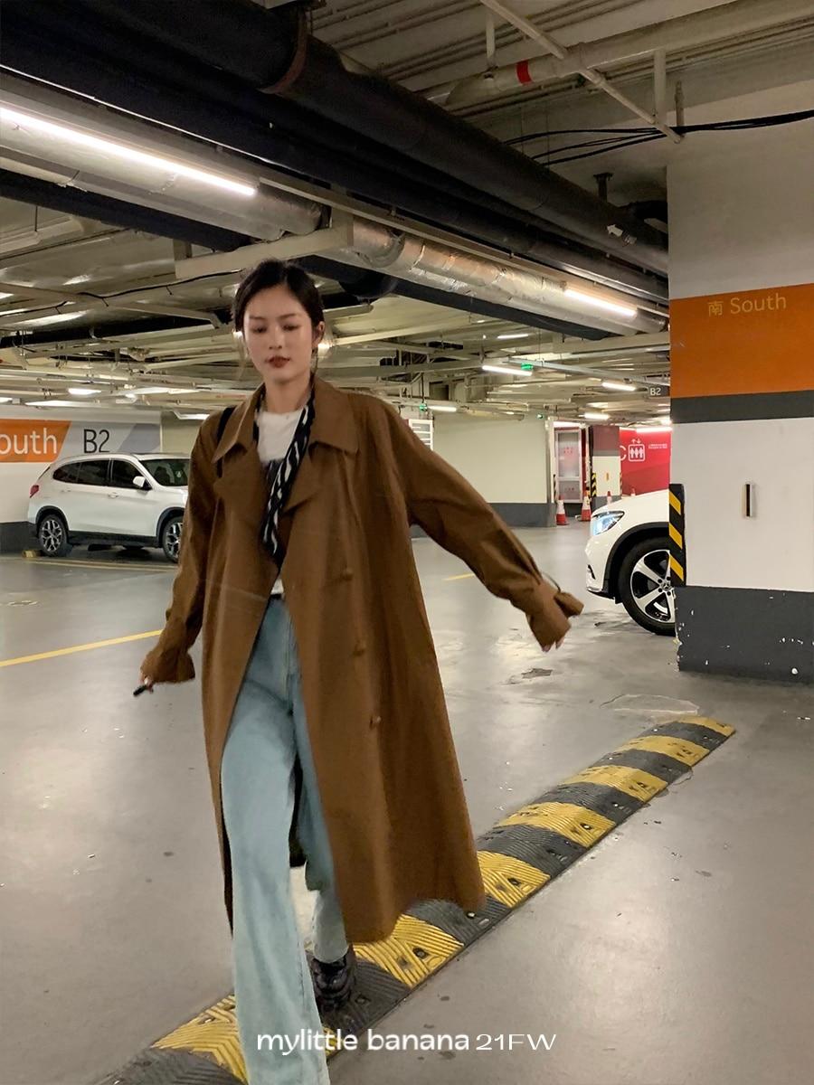 Overcoat Women Trench Coat Long Design Silhouette Windbreaker