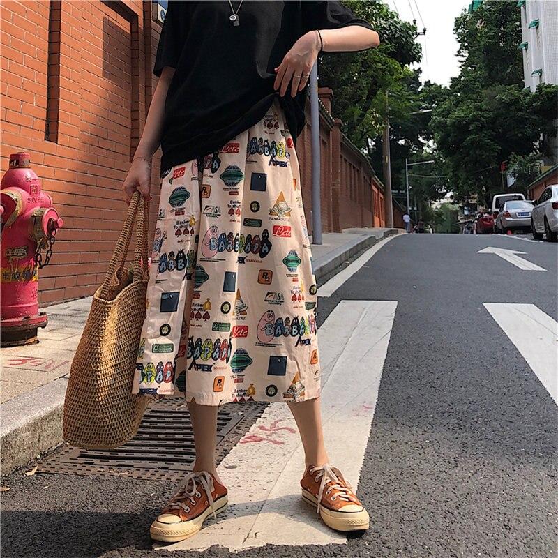 HziriP New Cartoon Cute Women Streetwear Slim 2020 A-Line Loose High Waist Skirts Casual Mid-calf Female Office Lady Skirts