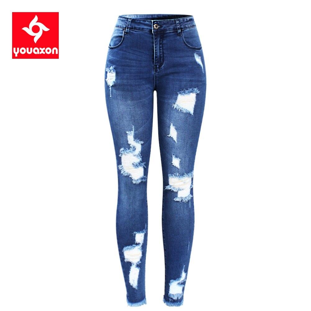2127 Youaxon nuevo S-XXXXXL Ultra elástico azul Tassel rasgado Jeans Mujer pantalones de mezclilla pantalones para las mujeres lápiz Skinny Jeans