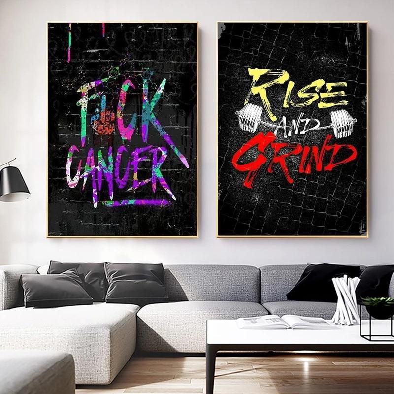 Абстрактная Картина граффити с надписью «подъем и измельчение» на холсте, Настенная картина для декора комнаты и дома