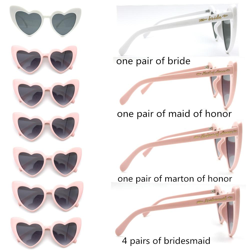 7 Pairs/lot Wedding Retro Heart Sunglasses for Wedding Day Bachelorette Party Sunglasses Favor Bridesmaid Gift Marton of honor