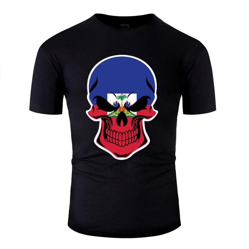 Camiseta personalizada con diseño de calavera de bandera haitiana, camisetas famosas para hombres y mujeres, novedad, S-5xl de gran tamaño