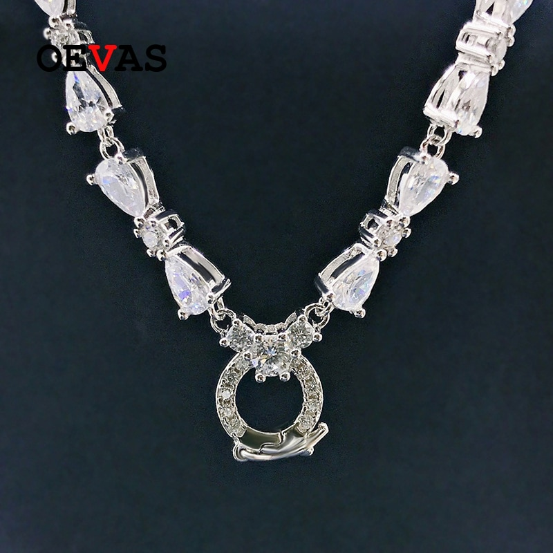 Promo OEVAS 100% 925 Sterling Silver Full High Carbon Diamond Chains Necklace For Women Sparkling Wedding Party Fine Jewelry Wholesale