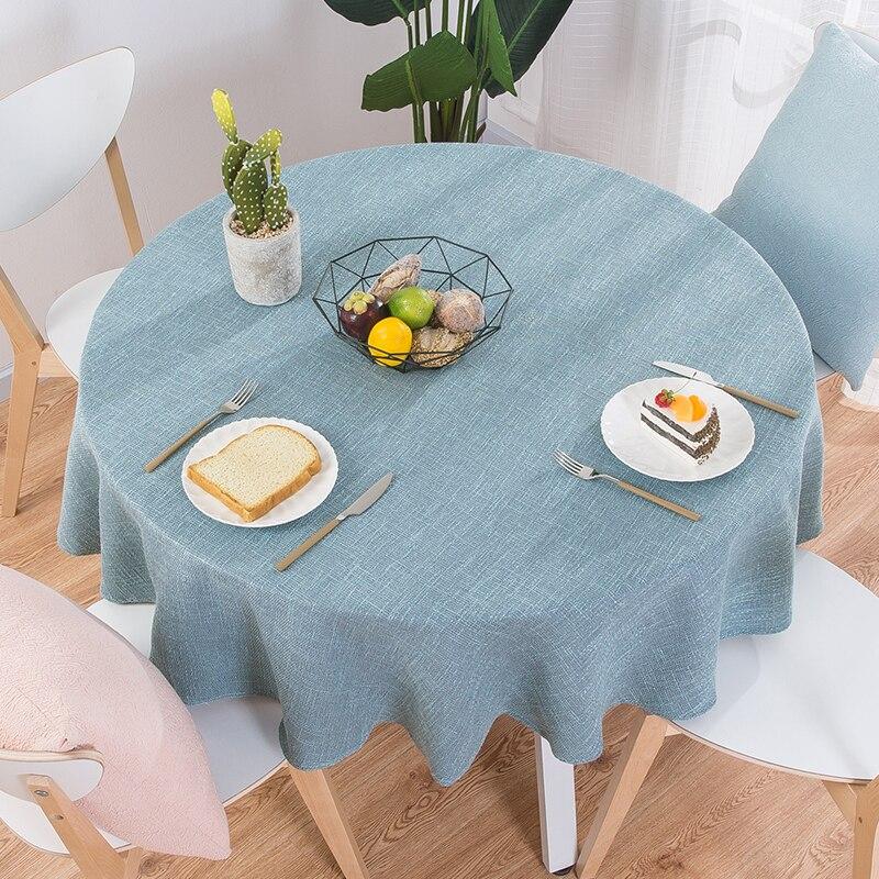 Mantel de lino de algodón, mantel redondo para mesa de boda, mantel nórdico para té y café, decoración hogareña Cocina