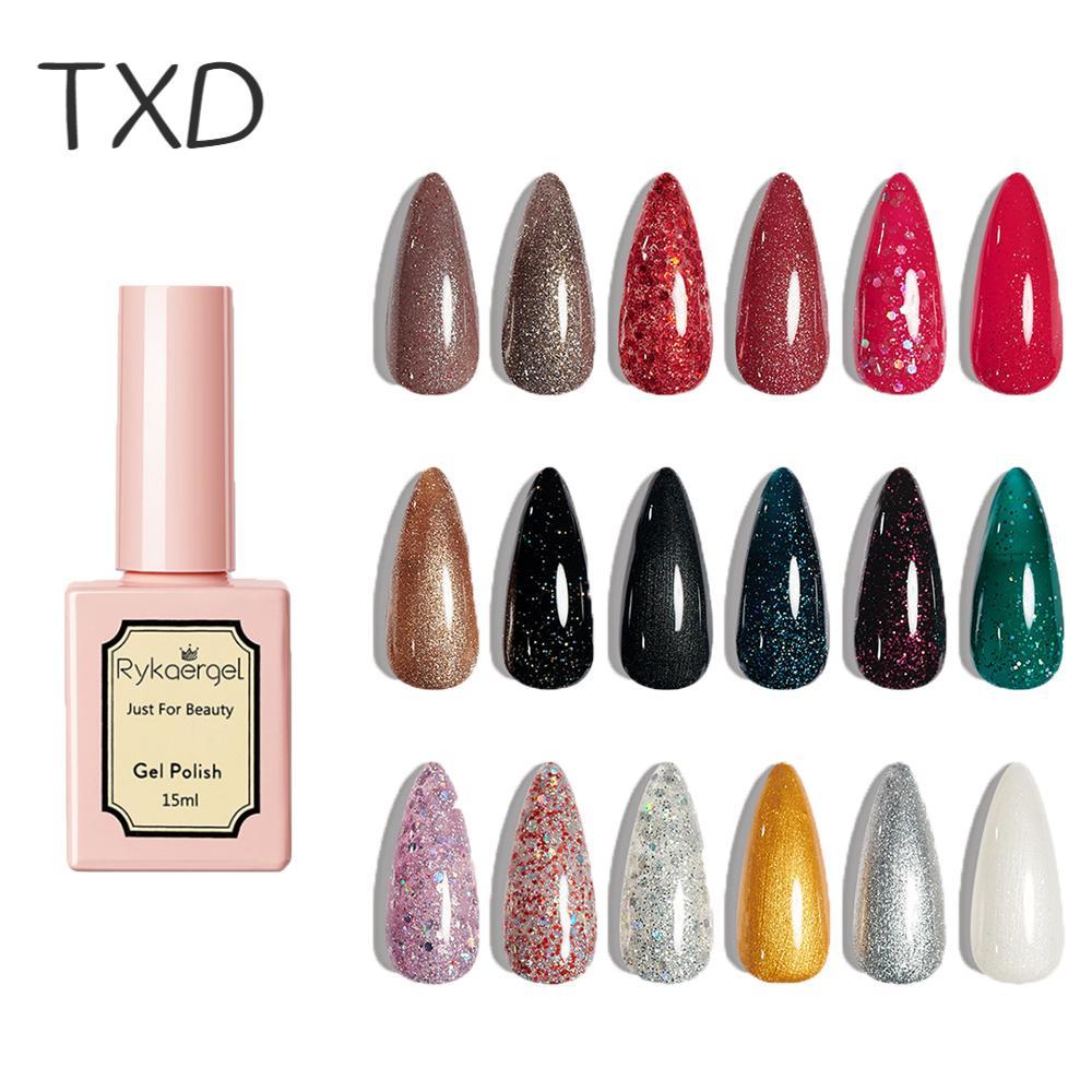 Модные Разноцветные полуперманентные блестящие маникюрные Лаки TXD, 15 мл, удаляемые замачиванием УФ-гель-лаки для ногтей