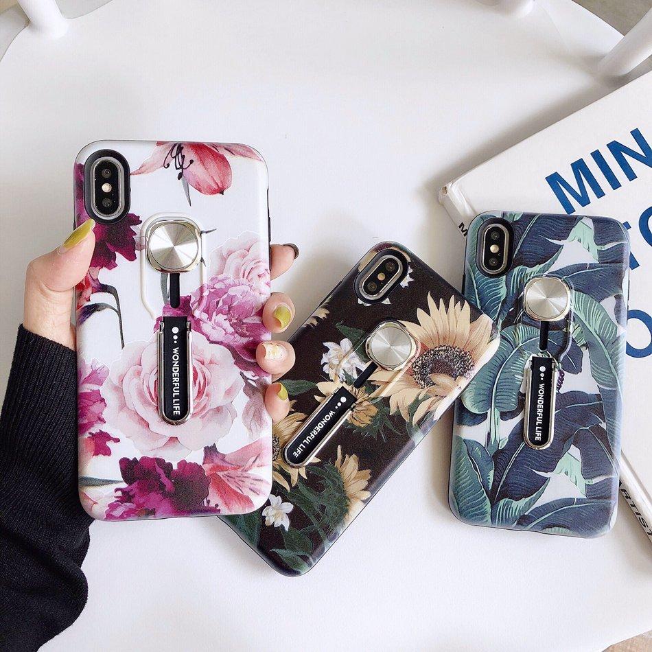 Flor de luxo esconder loop caso suporte para iphone 11 pro x xr xs max silicone titular capa para iphone 6s 7 8 plus volta coque funda