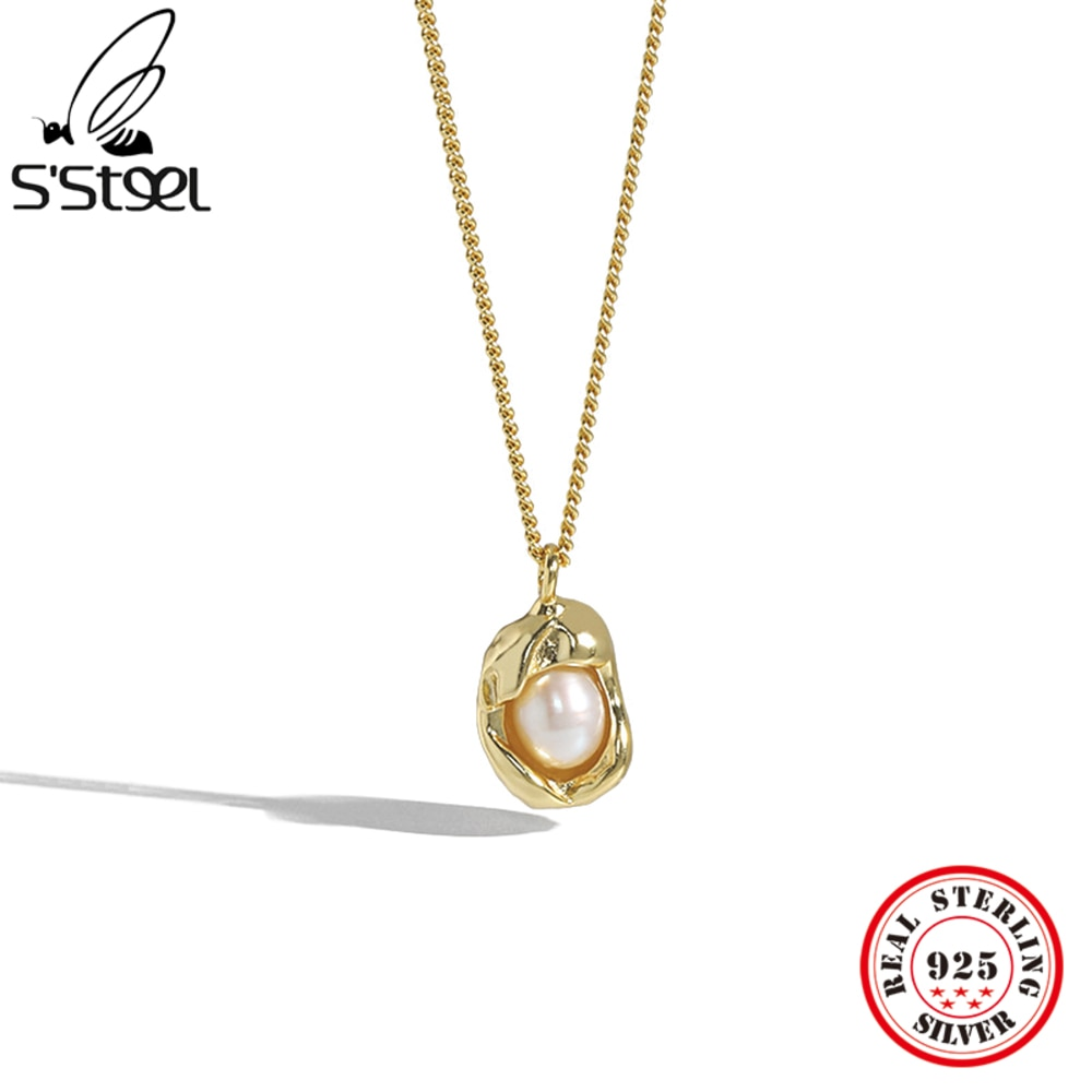S'STEEL 925 Sterling Silver Necklaces And Pendant Gift For Women Gold Design Geometry Versatile Pear