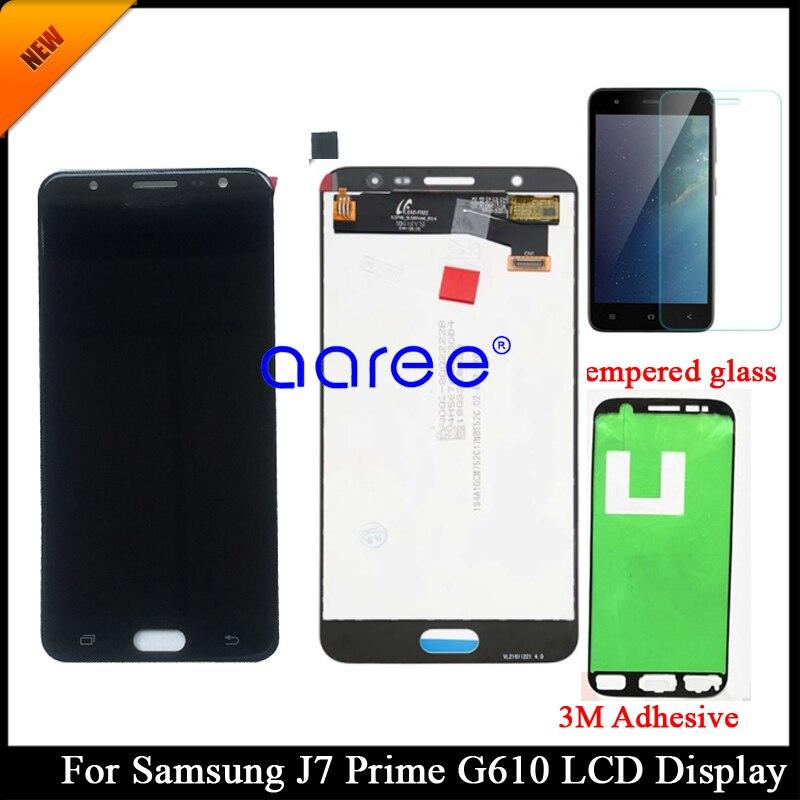 Grau aaa ajustável para samsung j7 prime g610 lcd para samsung j7 prime display lcd tela de toque digitador assembléia + adesivos
