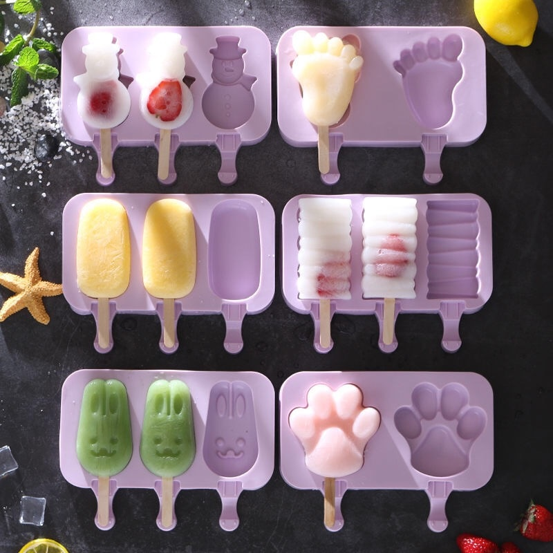 Silicone Ice Cream Mold Reusable Popsicle Molds DIY Homemade Cute Cartoon Ice Cream Popsicle Ice Pop Maker Mould недорого