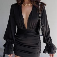 fashion ruched v neck long flare sleeve womens dress lace up elegant spring sexy a line mini vestidos for women 2021