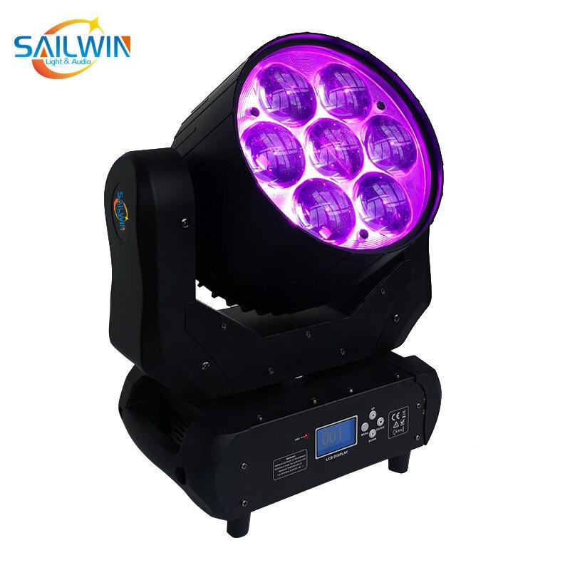 Aura Stage Light 7X40W 4in1 RGBW LED ZOOM luz Wash con cabeza móvil evento en discoteca Fiesta Club luz para la boda 14CH láser Luz