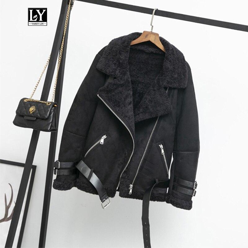 Ly varey lin mulheres do falso couro cordeiros lã gola de pele jaqueta de camurça casacos inverno quente grosso feminino solto faux cordeiro jaqueta outwear