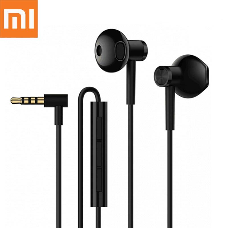 Auriculares Xiaomi Mi originales con Doble controlador de 3,5mm, medio auricular de cerámica dinámico DC con micrófono para teléfono Xiaomi Samsung