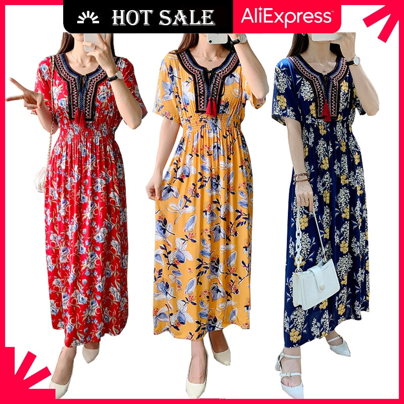 WAYOFLOVE Floral Beach Dress Women 2021 Casual Vintage Plus Size Long Dresses Summer Tassel Prom Hig