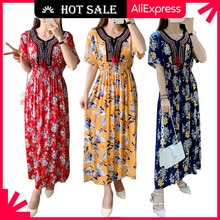 WAYOFLOVE Floral Beach Dress Women 2021 Casual Vintage Plus Size Long Dresses Summer Tassel Prom Hig