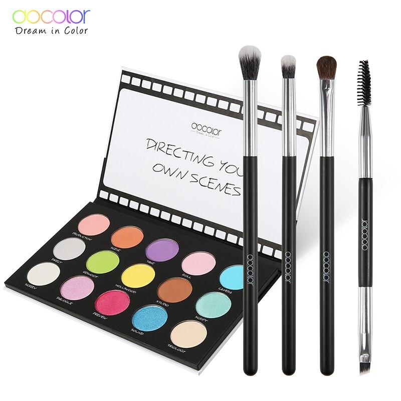 Docolor moda paleta de sombra 15 cores glitter nu cena sombra de olho paleta e 4 pçs pincéis de maquiagem dos olhos kit de ferramentas cosméticos