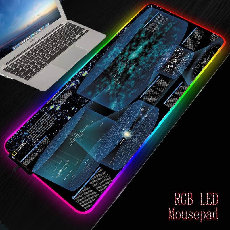 MRGBEST карта планеты космическая Вселенная RGB большой коврик для мыши геймер компьютерный коврик для мыши светодиодная подсветка Поверхность...