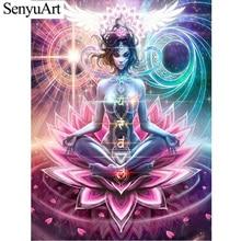 5D Diy Steentjes Diamond Schilderijen Volledige Ronde Boren Foto Lotus Boeddha Verf Door Getallen Kruissteek Kits Borduren Mozaïek