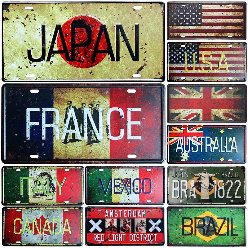 Japón USA México italia francia bandera matrícula de coche placa Amsterdam carteles de Metal Bar Pub café decoración del hogar garaje pintura