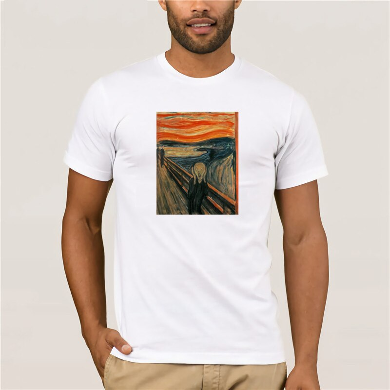 2020 moda T camisa 100% de algodón Camiseta de marca de moda para hombre Edvard Munch el grito famosa pintura camiseta Casual de