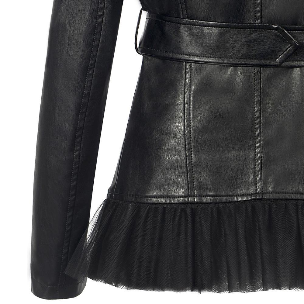 New Women Autumn Winter Black PU Faux Leather outerwear Zipper Button Turndown Collar Coat slim Moto Biker gauze Hem Belt Jacket enlarge