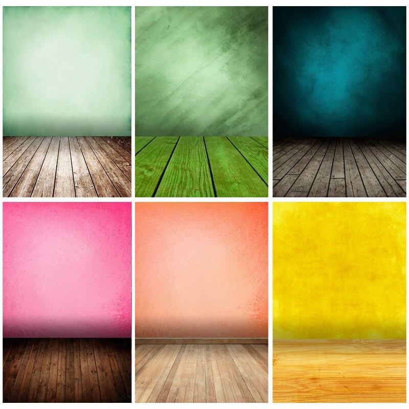 Винтаж градиент сплошной Цвет задники для фотосъемки кирпичная стена деревянный пол детского портрета фото Фоны 210125MB-24