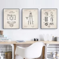 camera patent vintage posters and prints wall pictures office wall art canvas painting retro blueprint home wall decor gift idea