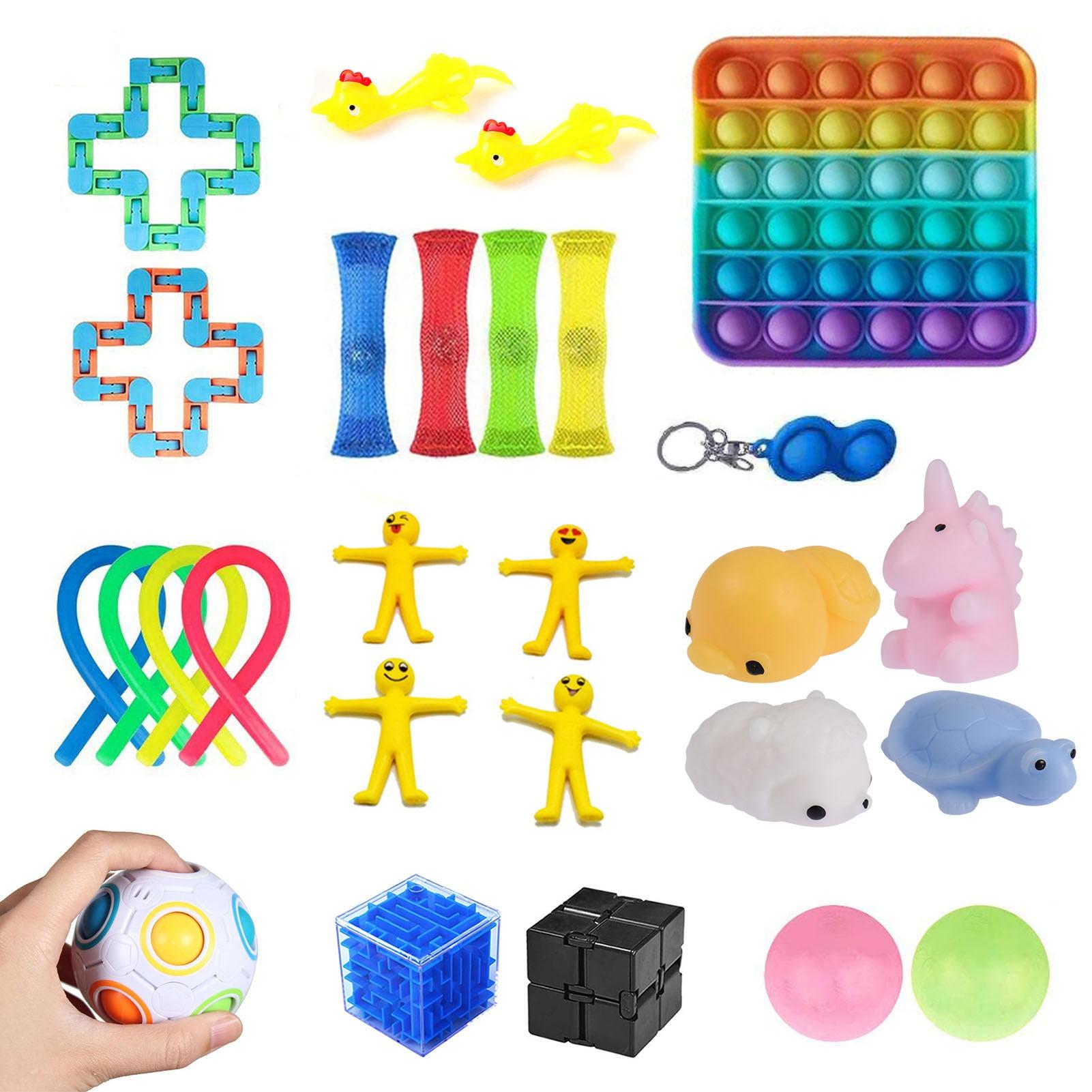 Sensory Fidget Toys Set Stress Relief Anti-Anxiety Sensory Toy Set Wall Stick Ball Stretchy Strings Mesh Marble Anti-stress Toys enlarge