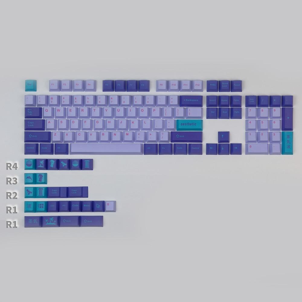 1 مجموعة Vaporwave كيكابس PBTDye التسامي مفتاح قبعات الكرز الشخصي GMK غرار Keycap مع 1.75u 2u تحول 1.5U R1 المكملات