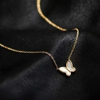 style retro temperament white shell butterfly necklace collarbone chain female short chain small net red festival