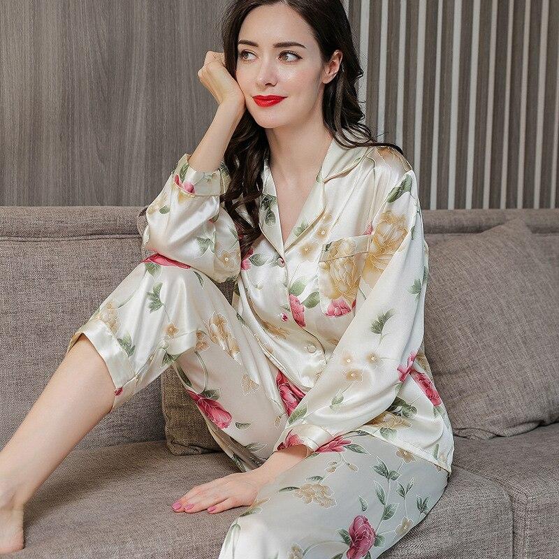 Silk Women's Pajamas Sets 100% Mulberry Silk Spring and Autumn Long-sleeved Silk Women's Home Clothes Sleepwear pijama feminino