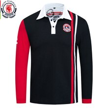 Fredd Marshall, otoño 2019, nueva camisa Polo de retales de manga larga, Polos 100% hombre de algodón, Polo Casual bordado, camiseta Top 067