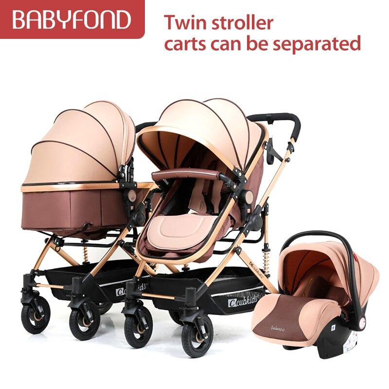 عربات أطفال توأم يمكن أن تجلس قابلة للفصل خفيفة الوزن قابلة للطي الطفل الثاني حجم مزدوج عربة الكنز مع مقعد السيارة