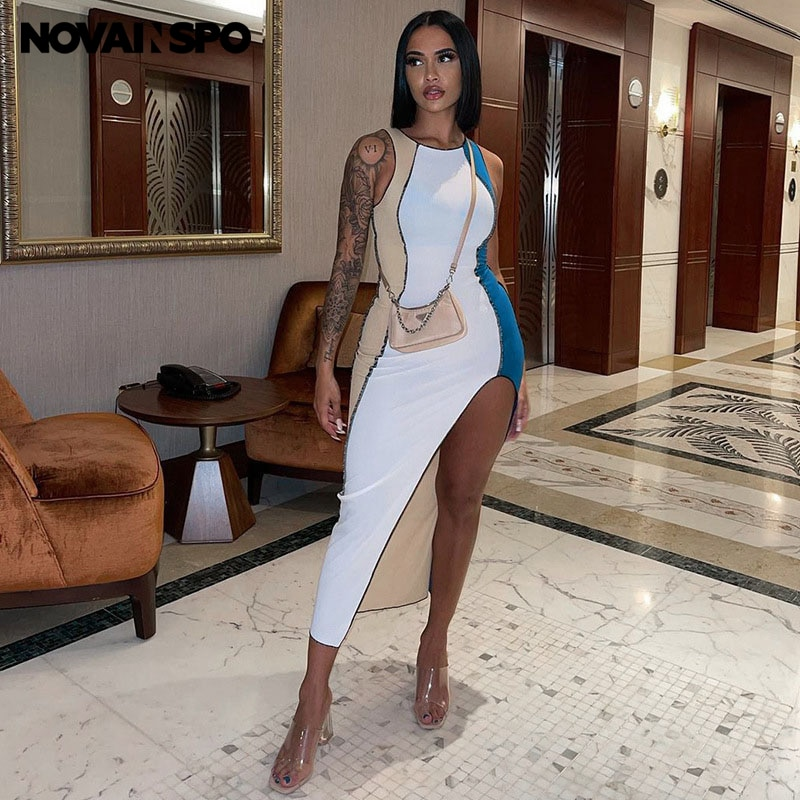 NOVAINSPO Round Neck Patchwork Split Fork Sleeveless Workout Urban Mid Dress Women Summer Casual Skinny Solid Outfits One Piece