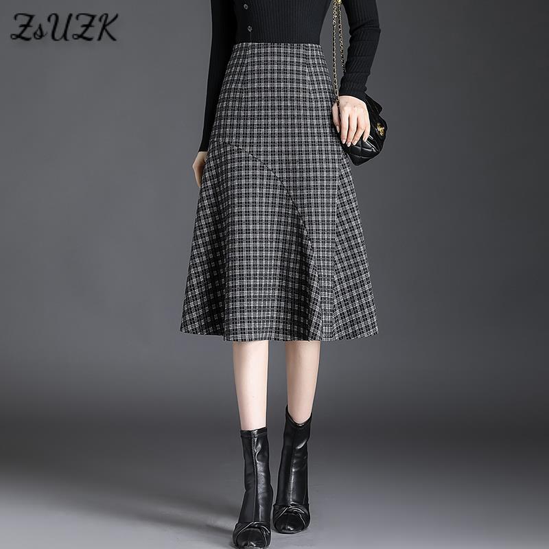 الخريف الحياكة خليط التفاف الورك تنورة للنساء عالية الخصر منقوشة تنورة المرأة موضة ذيل السمكة تصميم منتصف طول تنورة