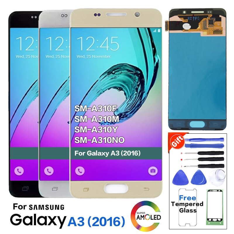 Super Amoled para Samsung Galaxy A3 2016 A310 A310F A310H A310M LCD probado pantalla digitalizador montaje de pantalla táctil