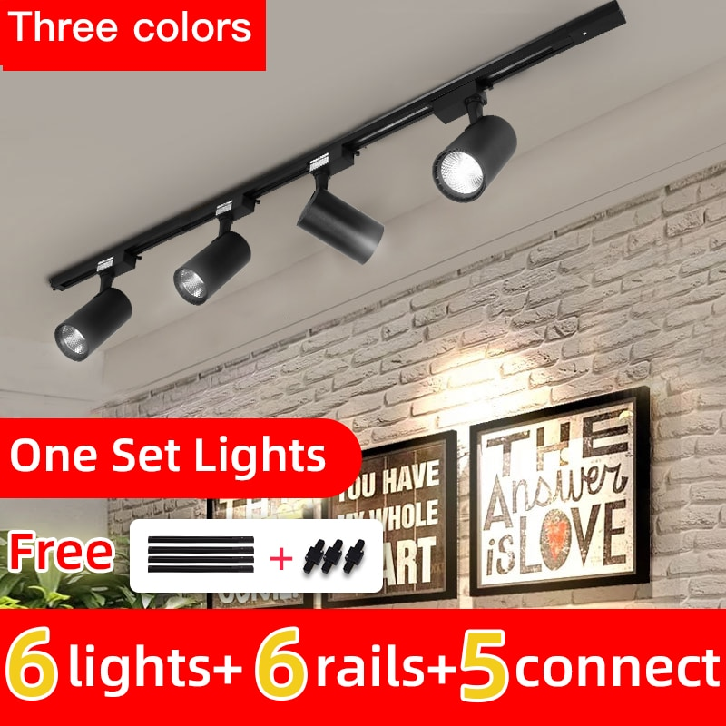 Whole Set Led Track Light 12/20/30/40W COB Track Lights Aluminum Rails Track lighting Fixture For Cl