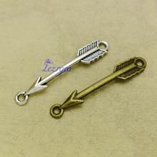 35 pièces/lot-37x5mm, Antique argent plaqué/bronze plaqué flèche connecter breloques, fournitures de bricolage, accessoires de bijoux
